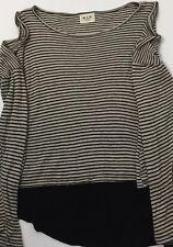 H.I.P Womens Top Black/Tan Cold Shoulder Strip Shirt Color Blocked  Size Small
