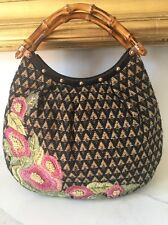 Gucci Black Beige Floral Embroidered Bamboo Bag Purse!