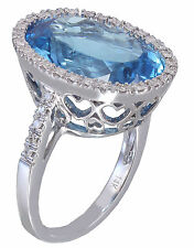 14k White Gold Oval Cut Blue Topaz And Diamonds Engagement Ring Halo 14.40ctw
