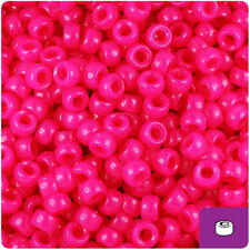 1000 Magenta Pink Neon 7mm Mini Barrel Plastic Pony Beads Made in the USA