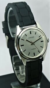 Vintage Citizen 63-8579 NOS Hand winding watch Japan 17 Jewels Silver Dial 70's