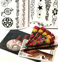 5 x HENNA CONES, 10 PAGE DESIGN BOOKLET, GREAT GIFT SET, UK FREE POST tr