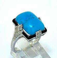 Turquoise Ring Turquoise, Cz & Enamel Art Deco Style 925er Silver #54