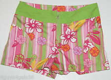 Girls Shorts PINK GREEN TROPICAL FLORAL Size 10 26x2 No Boundaries