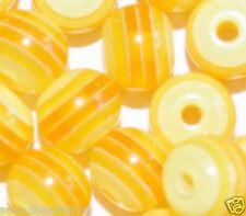 100 Pcs Résine Perles, Transparent Orange à Rayures, rond, 8 mm *