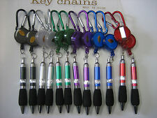 Lot of 96 Retractable Reel Belt Clip & Pen Key Chain/ Free Priority Shipping