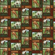 Wild Wings Valley Crest Horse Allover Patches 100 Cotton Fabric by The Yard