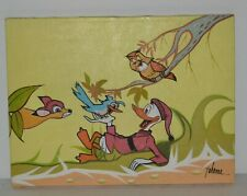 Donald Duck & Friends Oil Painting On Canvas Signed Johanna 16 x 12