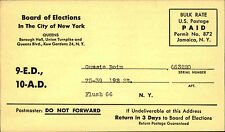 ~1960 USA Business Reply Card Antwortkarte New York Queens Paid U.S. Postage