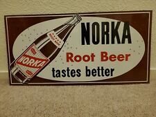 Norka Root Beer Soda Cola Beverage Advertising Tin Metal Vintage Sign