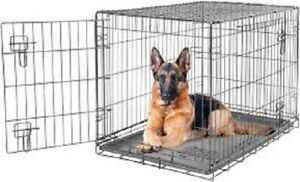 """Lucky Dog Sliding Double Door Wire XLarge Dog Crate 48"""" x 30"""" x 33"""" New Sealed"""
