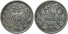 ALLEMAGNE 1/2 MARK 1914 D KM#17 XF!!
