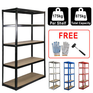 5 Tier x 175kg Garage Storage Shelves Racking Shed Boltless shelving Warehouse
