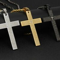"Men Gold Stainless Steel Christ Jesus Bible Cross Pendant Necklace Chain 24"" uk"