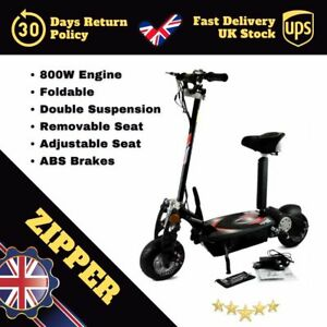 Zipper E-Scooter 800W Removable Seat Double Suspension ABS Brake⭐UKSeller