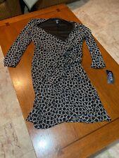 NWT Chaps black and white geometric circles dress sz XL long sleeve Sheath