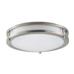 """Maxim Lighting Linear LED 1-Light 12"""" Flush Mount, Nickel/White - 55542WTSN"""