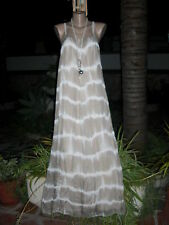 Italy Maxi Kleid Lagenlook Ibiza Impressionen Seide Beige-Off White EG 38-44