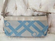 LANCEL BLUE FABRIC & IVORY LEATHER HANDBAG PURSE BAG GENUINE FRANCE