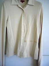HUGO BOSS edle Shirtbluse in Creme glänzend mit Satin Applikationen Stretch S
