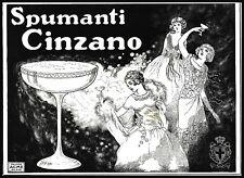 PUBBLICITA' 1925 CINZANO VINO SPUMANTE  COPPA STEMMA REGNO ITALIA DONNE LIBERTY