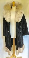 BLACK MINK FUR COAT con lenti ARCTIC FOX collo in pelliccia & Trim VERO VISONE Fodera Nuovo
