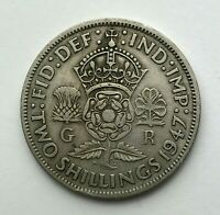 Dated : 1947 - One Florin - Two Shillings Coin - King George VI - Great Britain
