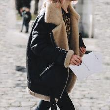 Womens Winter Warm Fashion Coat Aviator Leather Jacket Thick Fake Fur Coat Hot