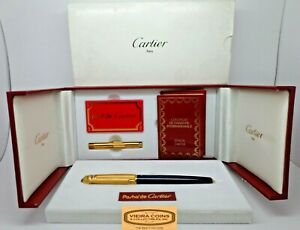 Cartier Stylos Pasha Fountain Black pen 18kt Gold Nib Complete Box+Instructions