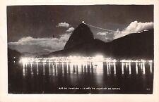 RIO DE JANEIRO BRAZIL~O PÃO de AÇUCAR de NOITE~REAL PHOTO POSTCARD 1930s