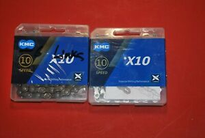 2 new KMC X10 10-speed bicycle chains with snaplinks