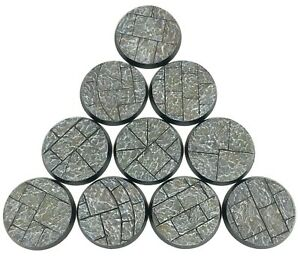 Stone City - Round Resin Bases 32 mm - 10 Painted/Unpainted Bases for Warhammer