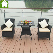 New 3 Pieces Chair Coffee Table Garden Set Outdoor Lounge Seater Wicker Black