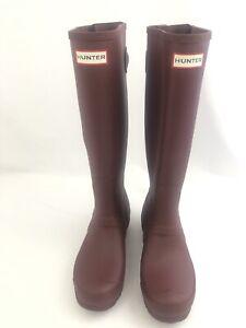 Women's Hunter Original Tall Back Adjustable Rain Boots Size 7 Cranberry