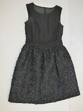 French Connection UK 12 Black Occasion Prom Cocktail Dress Floral Applique