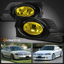 For 2001-2002 Honda Accord 4Dr JDM Yellow Bumper Fog Lights+Switch