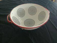 """Enamelware Colander Strainer 9"""" Red & White Vintage Enamel Kitchenware"""