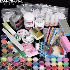 42 UV Acrylic File Nail Art Tips Glitter Liquid Powder Brush Clipper Primer Set