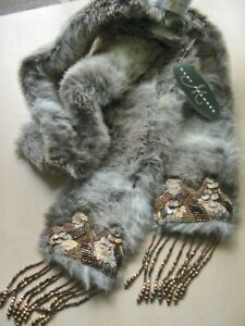 NWT Mary Frances MY-TIE SCARF STREET CHIC #1139 Faux Fur COLLAR Fringe Beads