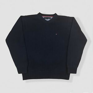 Men's Vintage Tommy Hilfiger Cotton Knitted V-Neck Heavy Jumper Sweater Small
