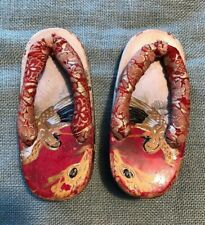 Antique Vintage Japanese Wooden Hand Painted Lacquer Sandal Shoes Kimono Silk