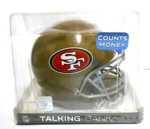 NEW SAN FRANCISCO SF 49ERS mini Helmet Talking COIN BANK Counts w/ 10 Phrases