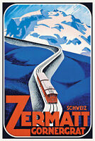 Schweiz Switzerland Zermatt Gornergra Blechschild Schild Tin Sign 20x30cm CC0417