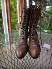 Victorian Early 1900s Bunnel Bros. Leather Lace-Up Boots Women's