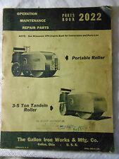 Galion Portable & 3-5 Ton Tandem Roller Operators Maintenance Parts Manual 2022