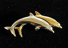 Vintage Lc Liz Claiborne Dolphin Porpoise Pin Brooch gold & silver tone
