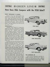 1958 Ford Edsel Compared To Oldsmobile By Green Line Extra Sales Brochure