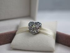New w/Box Pandora August Peridot Signature Heart Charm #791784PE Birthday stone