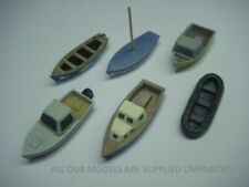 OO Model railway boats. pack of 6 small waterline boats for harbour and canal.