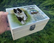 Pet dog urn for ashes, Wooden keepsake memory box, Any personalised design.